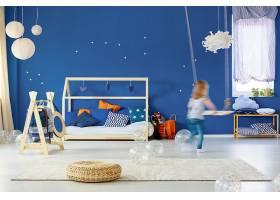 简约蓝色儿童房装潢设计