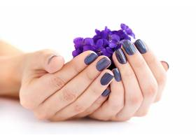 手里的紫色鲜花