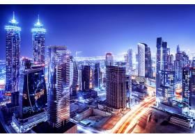 蓝色城市夜景