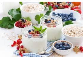 食物,早餐,酸奶,格兰诺拉麦片,蓝莓,无核小葡萄干,壁纸