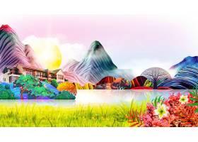 新中式房屋中介风景插画