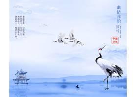 中国风仙鹤水墨背景图片