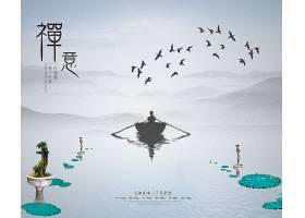 禅意中国风水墨背景图片
