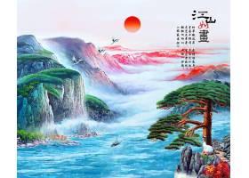 中国风江山如画水墨背景图片