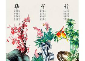 中国风梅兰竹水墨背景图片