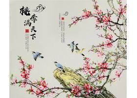 中国风花鸟图水墨背景图片