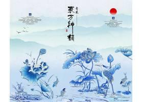 中国风仙鹤荷花水墨背景图片