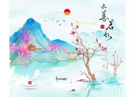 中国风上善若水水墨背景图片