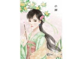 中国风手绘美女小满节气背景