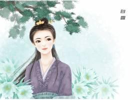 中国风手绘美女白露节气背景