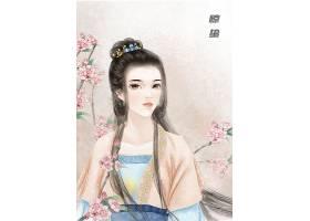 惊蛰节气中国风手绘美女背景