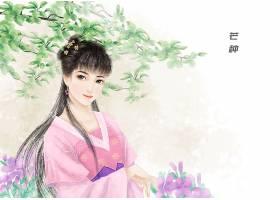 芒种节气中国风手绘美女背景