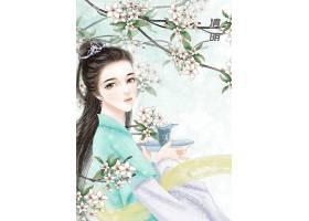 中国风清明节气手绘美女