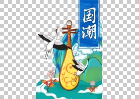 国潮风古筝仙鹤免抠素材