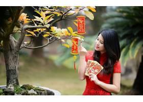 人,亚洲,美女,黑发,树木,黑发,常设,红色礼服,望着远处,户外的女