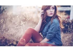 人,丹妮尔,红发,美女,雀斑,户外的女人,摄影,背景虚化,模特,草,景