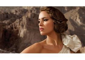 人,伊琳娜・沙伊克,黑发,绿眼睛,白色礼服,望着远处,美女,模特515