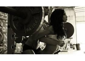 人,健身房,美女,体育,举重,长发,健身模特,单色23740