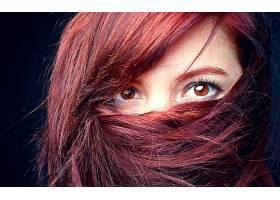 人,动漫,美女,红发,棕色的眼睛,头发在脸上,看着观众,面具,面对63