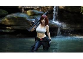 人,俄语,皮革,枪,美女,武器,红发,瀑布,夏娃Beauregard,角色扮演,