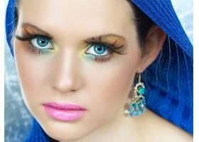 人,化妆,面对,粉红色的口红,看着观众,美女,模特27779