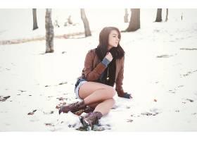 人,美女,腿,雪,牛仔短裤,黑发69517