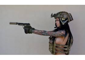 人,黥,武器,美女,sideboob,枪,抑制器,模特,有枪的女孩26755