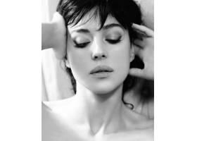 人,莫妮卡贝鲁奇,美女,演员,面对,肖像,闭着眼睛,单色9886