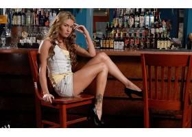 人,美女,金发,黥,短裤,牛仔短裤,Veronika Fasterova,坐在,椅子,