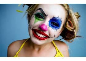 人,莱西贝儿,小丑,面对,蓝色背景,美女,化妆,明星10711