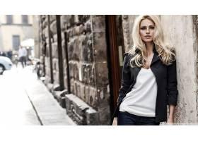 人,金发,优雅,看着观众,夹克,倚,米歇尔Hunziker,模特,市,户外的