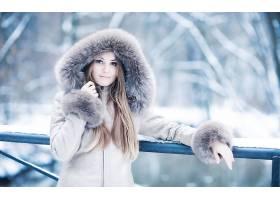人,美女,长发,户外的女人,金发,蓝眼睛,模特,黑发,皮草大衣,冬季,