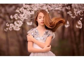 人,美女,闭着眼睛,长发,连衣裙,模特65703