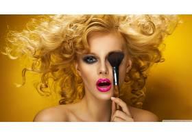 人,金发,模特,化妆刷,化妆,卷发,肖像,黄色背景,时尚,面对,美女69