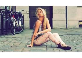 人,金发,模特,紧身衣,自行车,美女,城市的,闭着眼睛64220