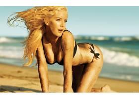 人,金发,比基尼泳装,海滩,美女,沙覆盖,模特,户外的女人,弯腰,分