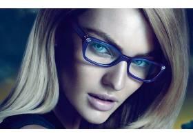 人,金发,眼镜,模特,简单的背景,美女,坎蒂丝・史汪尼普,面对,蓝眼