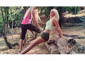 人,金发,紧身衣,训练,拉伸,健身模特,户外的女人,腿,美女,模特692