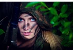 人,美女,面对,枪,金发,蓝眼睛,模特,武器,有枪的女孩7089
