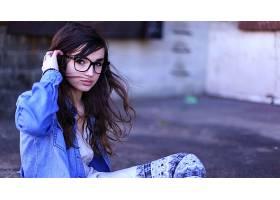 人,黑发,眼镜,美女,戴眼镜的美女,模特,看着观众51052