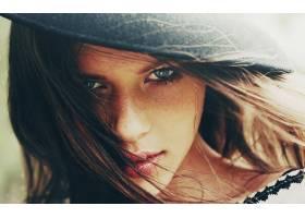 人,美女,黑发,面对,模特,雀斑,帽子,蓝眼睛,肖像,多汁的嘴唇,看着