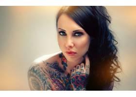 人,美女,黥,面对,黑发,蓝眼睛,模特,肖像,化妆70130
