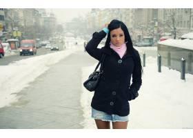 人,雪,阿什莉宝格丽,美女,黑发,户外的女人,明星,城市的,模特4310