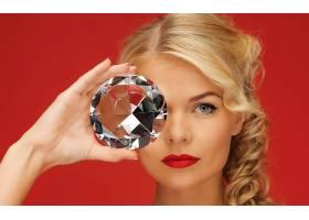 人,美女,面对,钻石,金发,蓝眼睛,红色背景,看着观众,模特3835