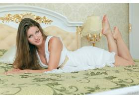 人,黑发,脚,躺在前面,在床上,美女,模特,灯1563