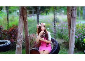 人,花圈,波动,亚洲,美女,吉他,户外的女人,粉红色的裙子,乐器,坐