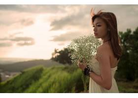 人,花束,户外的女人,白色礼服,有风,黑发,美女,亚洲29589