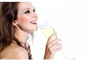 人,黑发,香槟酒,美女,面对,微笑,醇,长发10257