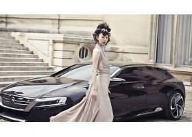 人,雪铁龙Numero 9,美女,亚洲,模特,汽车的美女,汽车,车辆,常设,