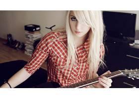 人,吉他,金发,染过的头发,贝西,格子花呢,美女31619
